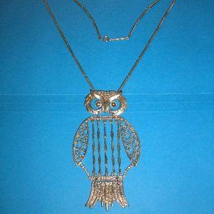 Vintage Large Segmented Owl Necklace great detail